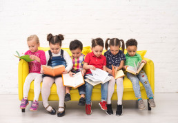 Kids busy reading books