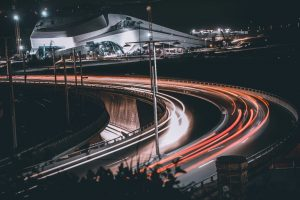 High way lit with lights during night